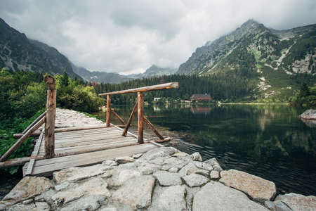 Lake Popradske pleso in the High Tatras. The amazing nature of the High Tatra Mountains in Slovakia. 스톡 콘텐츠