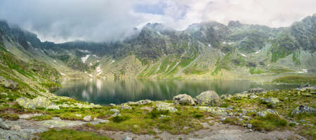 View of the valley in the mountains with the Hincovo pleso pond in the High Tatras. Slovakia. Landscape of nature. 스톡 콘텐츠 - 151620675