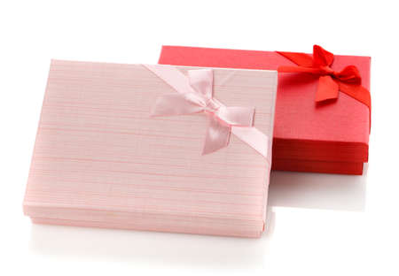 Two beautiful jewelry boxes. Red and pink gift box. Isolated on white background. Surprise for the holidays.