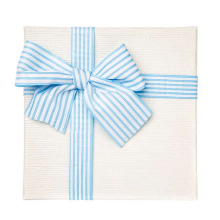 White square gift box with blue ribbon and bow isolated on white background. Top view. Mother's Day Gift.