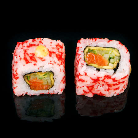 Sushi on black background. Perfect for creating sushi restaurant menu. Part of series.