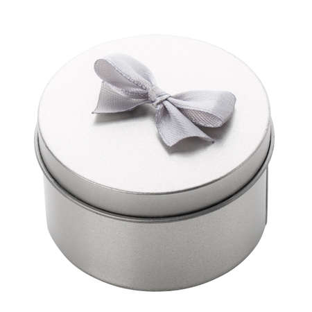 Round metallic gift box in gray with a small ribbon for a mini gift. Isolated on white background 스톡 콘텐츠