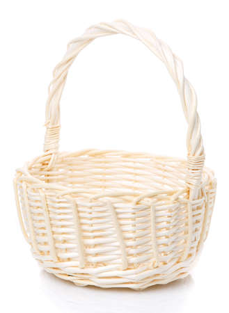 Beautiful handmade wicker basket isolated on white. Side view.
