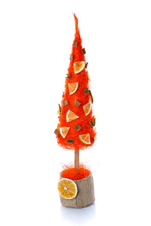 Decorative Christmas tree for home interior or office on a white background