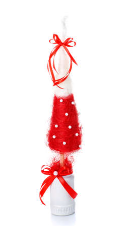 Handmade Decorative Christmas Tree for home interior or office on a white background Foto de archivo