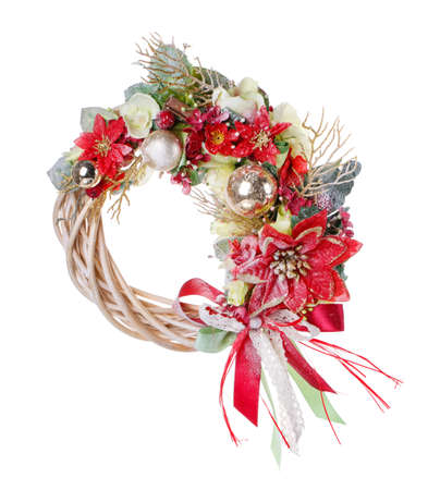 Traditional christmas wreath isolated on white. Christmas decorations for New year, holiday decorations.