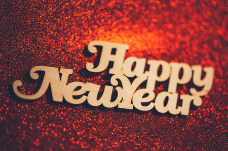 Happy new year text on an abstract bokeh
