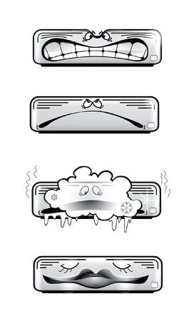 vent: Air conditioner vector icons isolated on white Illustration