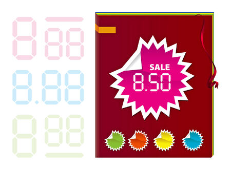 Book with ribbon and label stick for sale Vector