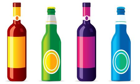 isolated alcohol bottles . No transparensy and effects. Vector