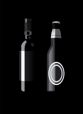alcohol bottles. No transparensy and effects. Vector
