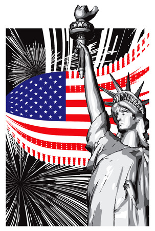 American symbols of flag and the Statue of Liberty Vector