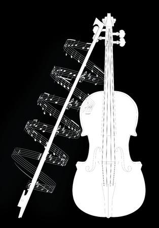 예행 연습: Vector illustration violine with note 일러스트
