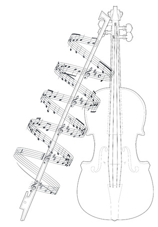 rehearsal: Vector illustration violine with note Illustration