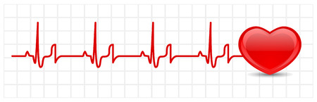 heart disease: Vector heart cardiogram