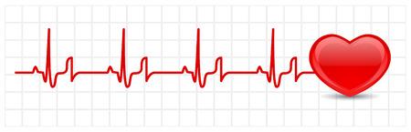 elettrocardiogramma: Vettore cuore cardiogram  Vettoriali