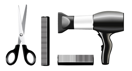 comb: Vecrtor set of combs and scissors, hairstyle accessories. No transparency and effects.