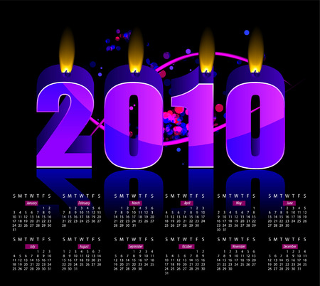 two thousand: Happy New Year 2010 burning vector candles calendar