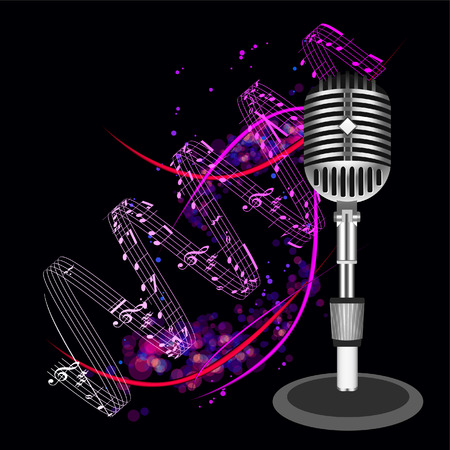 Beautiful Retro Black Microphone Background