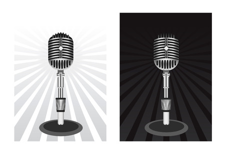 Beautiful Retro Black Microphone Vector