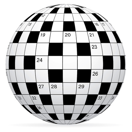 A blank crossword in form world globe Vector