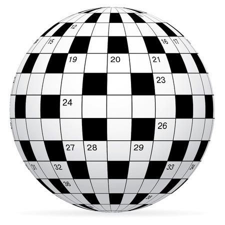 kwis: Een lege kruiswoord raadsel in formulier wereld bol  Stock Illustratie