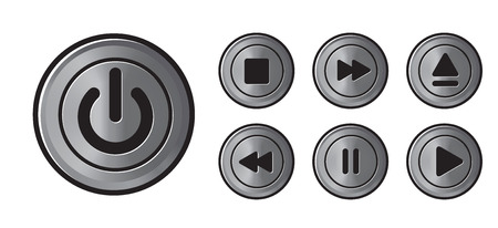 Player icons metall buttons vector Vector