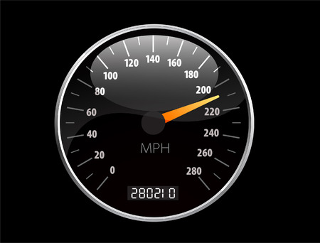 kilometer: Beautiful realistic vector speedometer ilustration Illustration