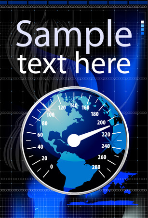 kilometer: Speedometer in form globe vector illustration. Global warming concept