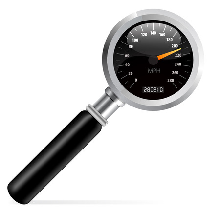 kilometer: Speedometer in magnifier vector illustration