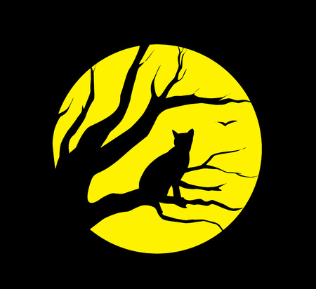 superstitions: silhouette cat at the moon on black background Illustration