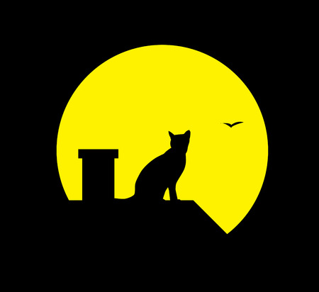 focus on shadow: silhouette cat at the moon on black background Illustration
