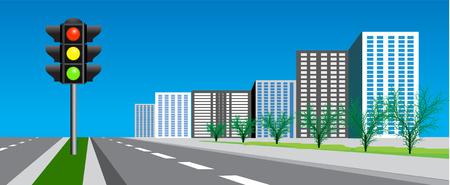rue avec la route et de signalisation