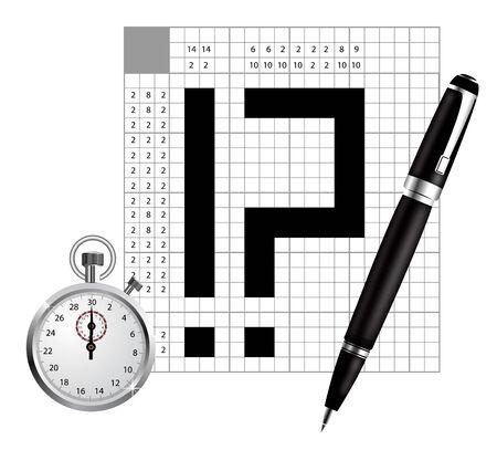 unfinished: Un espacio en blanco del crucigrama de Jap�n con la pluma y el cron�metro