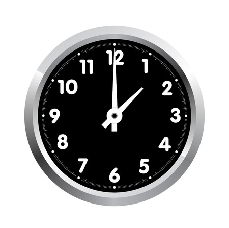 clock face:  realistic office clock isolated on white background Illustration