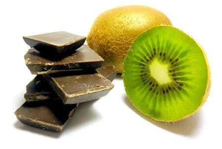 chocolate with kiwi isolated on white background Stock Photo - 6618173
