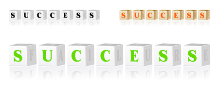 Childrens 3D alphabet cubes with success in front and failure on right side Vector