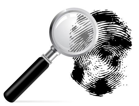 finger ring: Magnifier with scaned fingerprint on white background