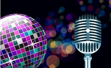 reflection in mirror: disco ball with microphone