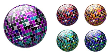 disco ball on white background. Multicolored version. Stock Vector - 6734879