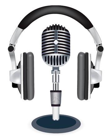 headset business: Cuffie witn microfono su sfondo bianco
