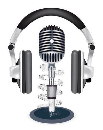 headphones witn microphone on white background Vector