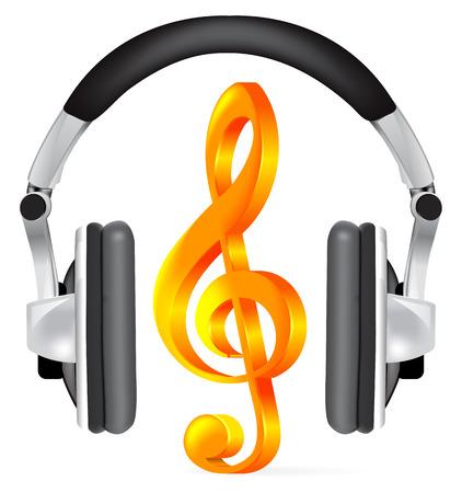 clave de fa: Auriculares realistas con nota de música en blanco Vectores