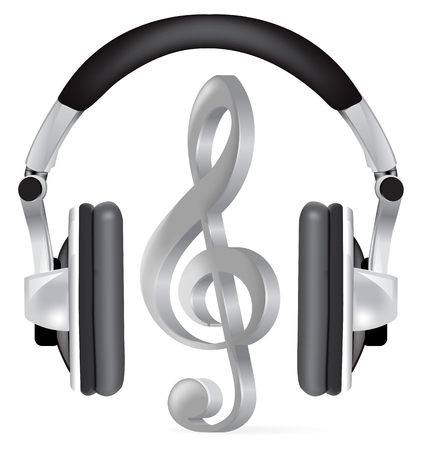 headphones icon: Realistic headphones with music note on white
