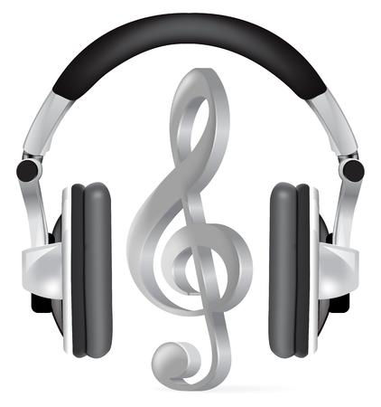 Realistische Kopfhörer mit Musik-Hinweis auf weiß Vektorgrafik