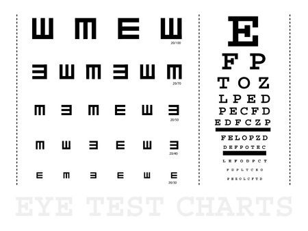 exams: Snellen eye test charts for children and adults Illustration