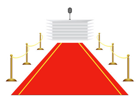 red carpet to tribune on white background Stock Vector - 6795994