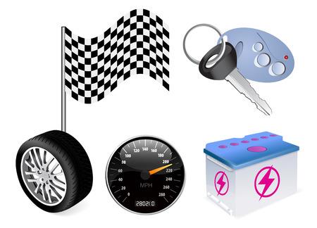 auto icon set on white background Vector