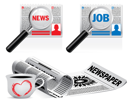 broadsheet: newspaper icon set on white background