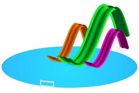 rutsche: Abbildung Aqua Park mit Wasserrutsche auf wei�